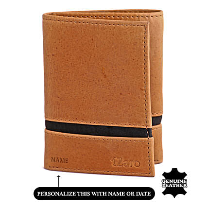 Men's Tri Flod Tan And Blue Wallet