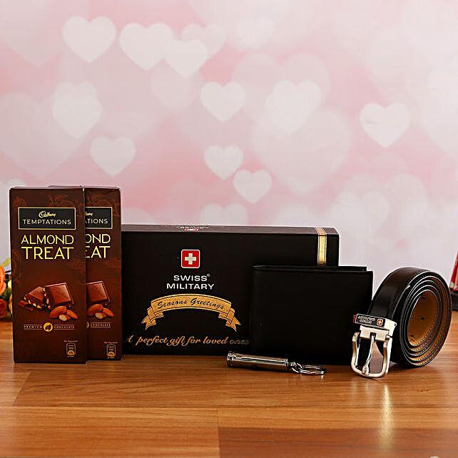 Mens Classic Gift Hamper N Cadbury Temptations:Send Belts