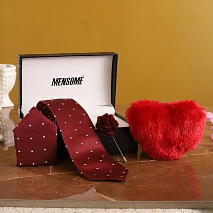 Maroon Tie Gift Set with Heart for Him