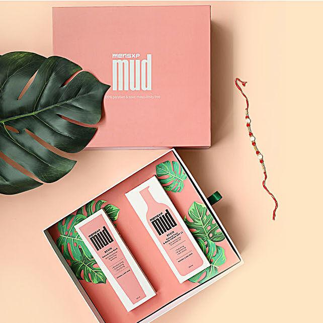 MensXP Mud Limited Edition Gift Box & Pearl Rakhi:Rakhi With Grooming Hamper