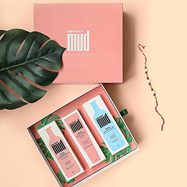 MensXP Mud Limited Edition Gift Box & Rakhi:Rakhi With Grooming Hamper