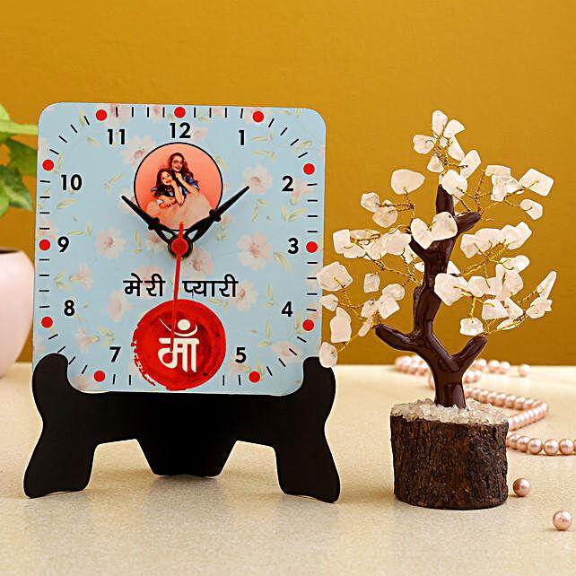 Meri Pyaari Maa Personalised Table Clock And Wish Tree Hand Delivery