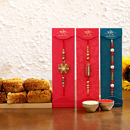 Stylish rakhi set with milk cake online