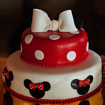 OnlineMinnie Mouse 2 Tier Truffle Cake:Send Minnie Mouse Cake