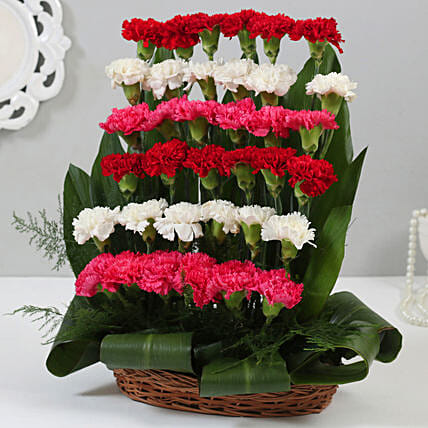 Online Mixed Carnations Cane Basket