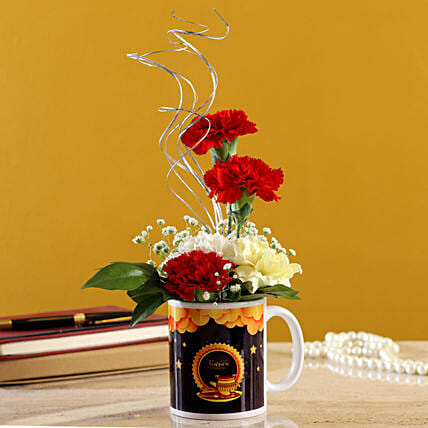 Mixed Carnations In Karwa Chauth Printed Mug