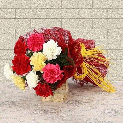 Mixed Colored For Love - Bunch of 10 mix color carnations.:Send Wedding Gifts to Bengaluru