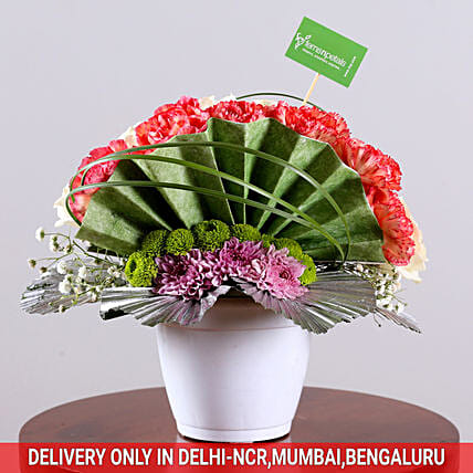 Buy Online Mixed Floral Arrangement In White Pot