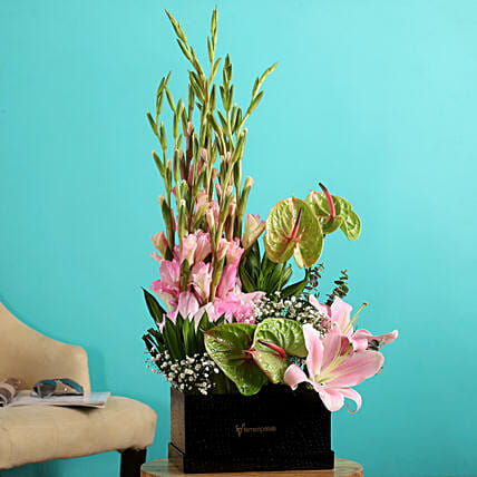 mixed flowers arrangement:Send Anthuriums