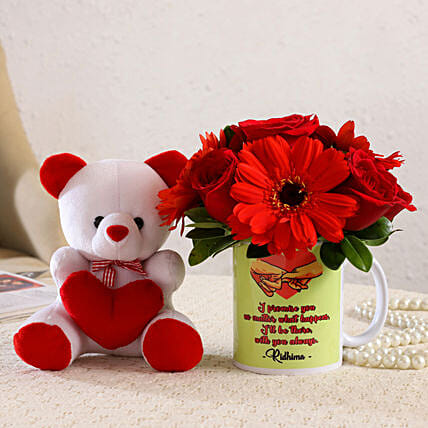 Mixed Flowers Arrangement In Personalised Mug and Cute Teddy