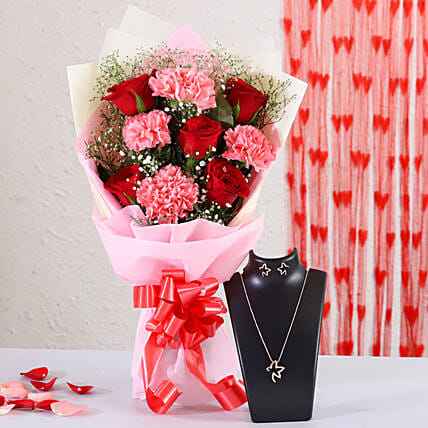 flower bunch with necklace set online:Send Valentines Day Jewellery