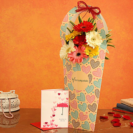 Mixed Flowers In FNP Heart Sleeve and Love Umbrella Card:Gerberas Flower