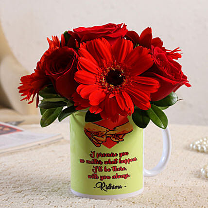 Mixed Flowers In Personalised Promise Day Mug
