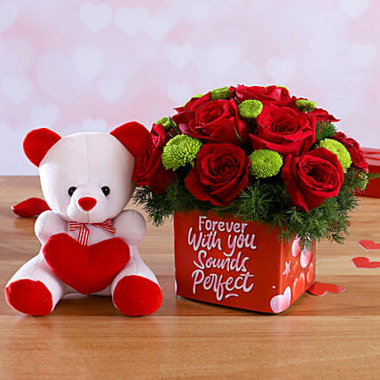Mixed Flowers In Sticker Vase and Love Teddy:Flowers & Teddy Bears