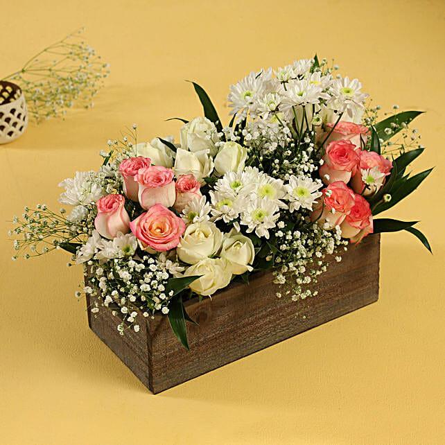 mix flower wooden tray arrangement:Flagship Collection