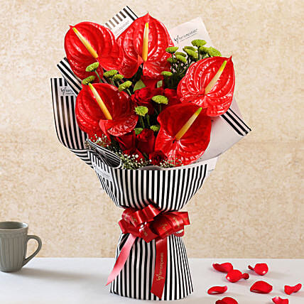 Mixed Flowers Red Ribbon Tied Striped Bouquet