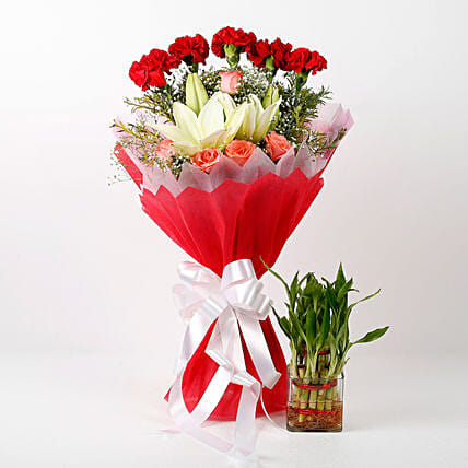 attractive floral bouquet with plant:Flower Delivery in Udham Singh Nagar
