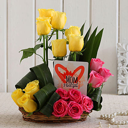 Mixed Roses and Love U Mom Table Top