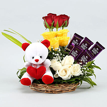 flowers n teddy arrangement combo online