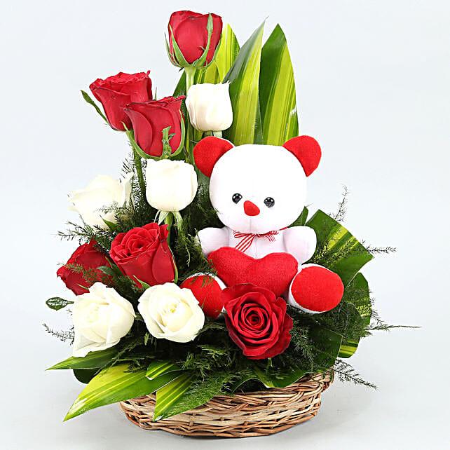flowers n teddy arrangement combo