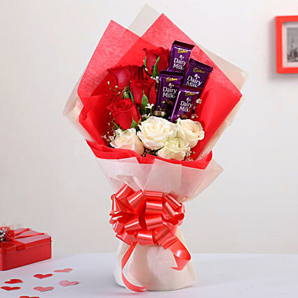 Mixed Roses Bouquet With Dairy Milk Chocolates:Valentines Day Flowers & Chocolates