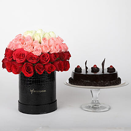 Mixed roses in box & truffle cake online:Flowers to Raipur
