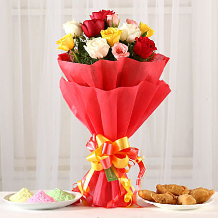 Online Mixed Roses Posy With Gulal & Gujia