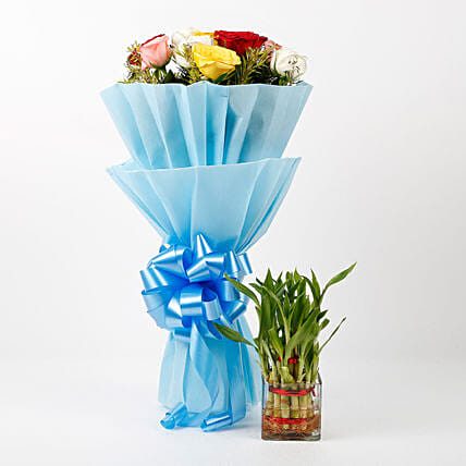 lovely roses bouquet with plants:Send Flowers N Plants