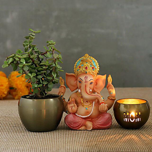 Mom Candle With Ganesha Idol And Jade Plant Pot:Jade Plants