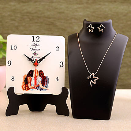 Mom Daughter Table Clock Necklace Set