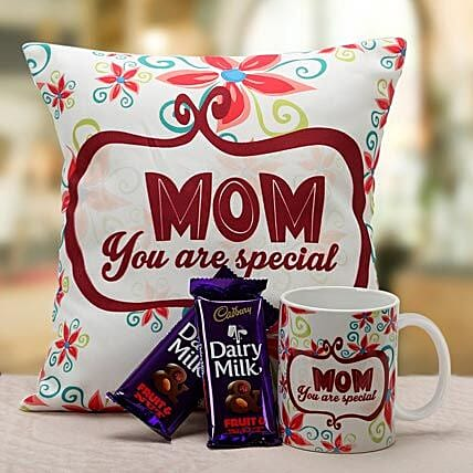 Mom Is Special-1 12x12 inch cushion for mom,1 mug for mom and 45 grams each of 2 dairy milk fruit n nut:Mothers Day Gifts to Mysore