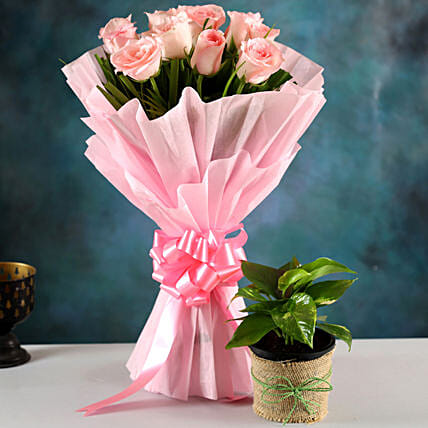 Send Plant And Rose Bouquet:Flowers N Plants