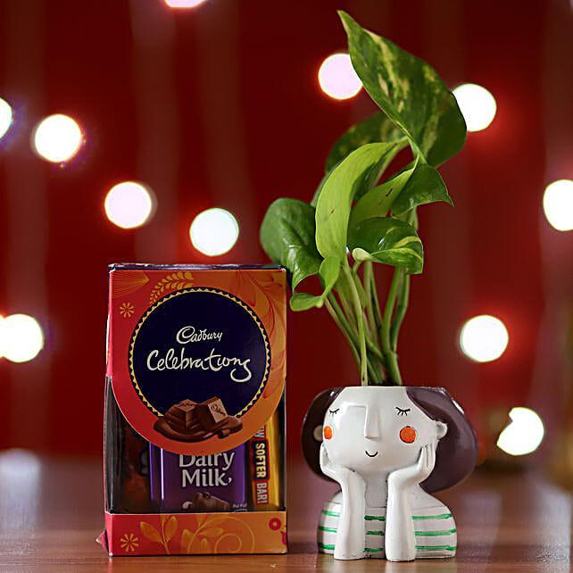 Online Money Plant And Cadbury Celebrations:Resin Planters