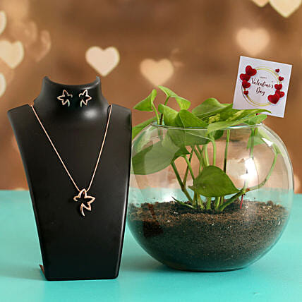 Money Plant In Glass Vase With V-Day Tag & Greeting Card Hand Delivery