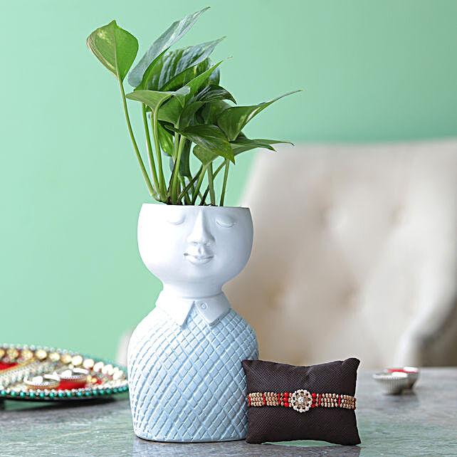 Plant In Resin Pot & Rakhi Online