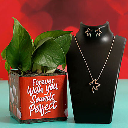 Money Plant In Sticker Vase & Jewellery Set Hand Delivery:Plant Combo For Valentines Day