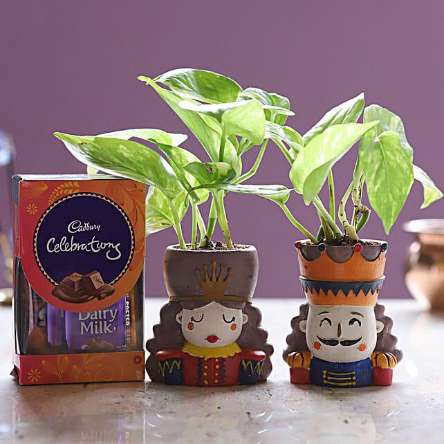 Online Money Plant Set And Cadbury Celebrations:Resin Planters