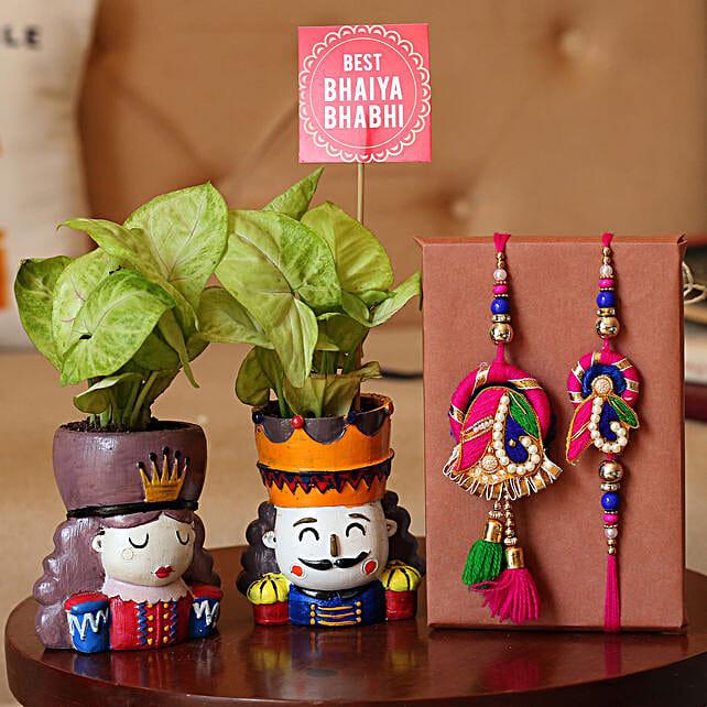 Plants With Bhaiya Bhabhi Rakhi Combo