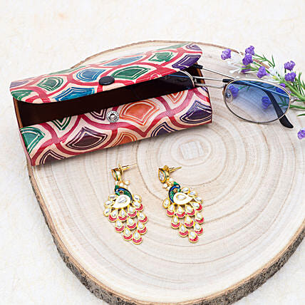 Mothers Day Peacock Drop Earrings And Sunglass Case