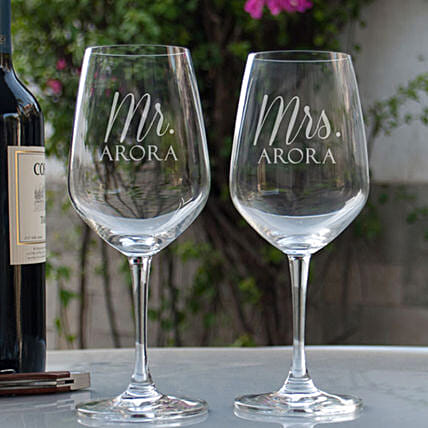 Mr & Mrs Printed Wine Glasses Online:Send Personalised Wine Glasses