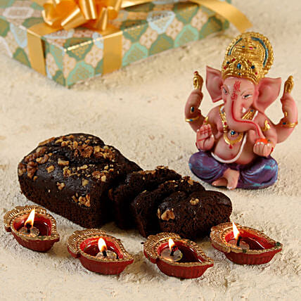 Coloured Ganesha and Chocolate Banana Dry Cake- Gluten Free