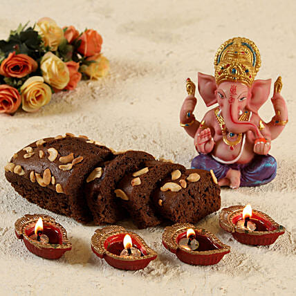 Coloured Ganesha and Plum Dry Cake:Dry Cakes