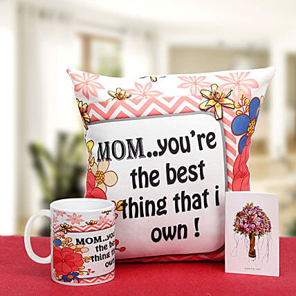 Munificent Mommy-12x12 inches mother special cushion,white ceramic coffee mug and greeting card:Mothers Day Gifts Mysore