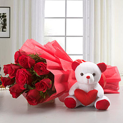 My y Love - Bunch of 10 Red Roses and 6 inch height .