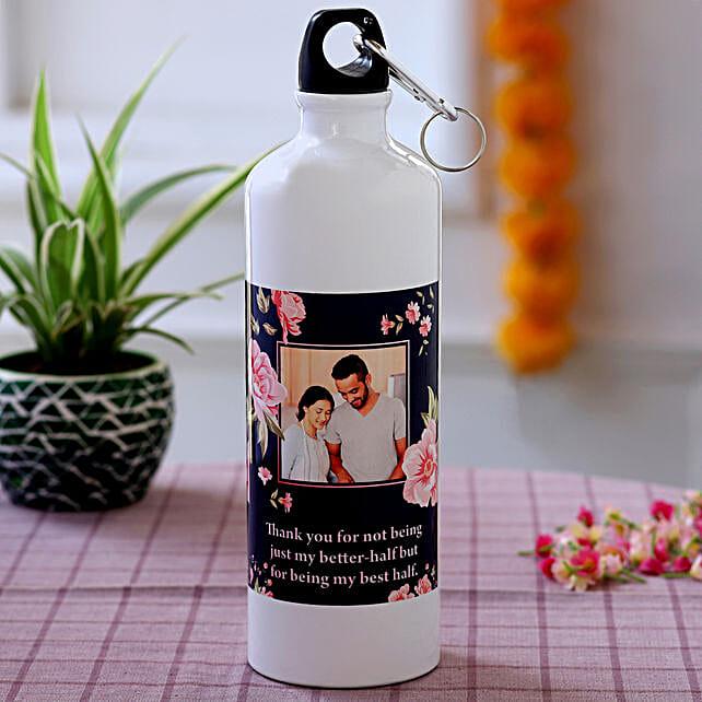personalised water bottle on karwa chauth