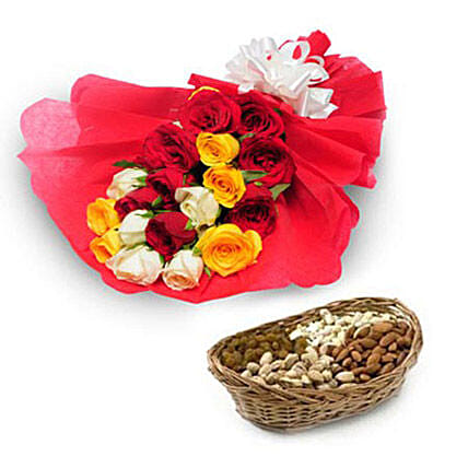 My Best Wishes - Bunch of 10 Red Roses, 5 Yellow Roses, 5  roses in red color paper packing and 500gm mixed dryfruits in a cane basket.