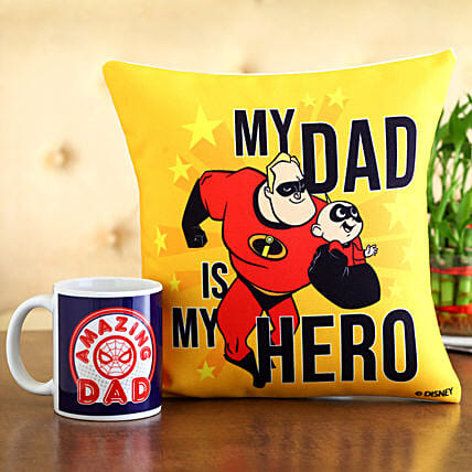 My Dad My Hero Cushion Mug Hand Delivery:Fathers Day Gifts Combo