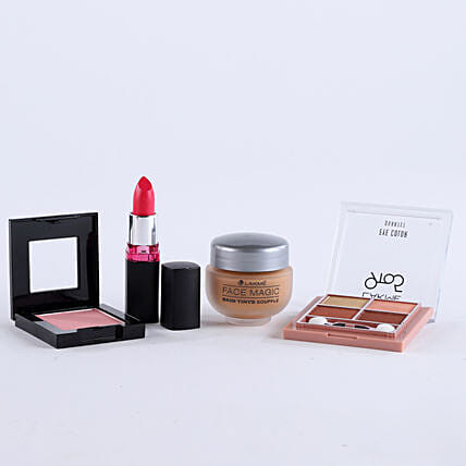 My Fair Lady Hamper-Lakmes Maroon Lipstick,Face Magic Daily Wear Souffle 30 ml,Eye Colour 7g and Maybelline New Yorks Cheeky Glow Blush On 7g:Send Gift Hampers to Bhopal