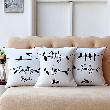 My Love Family Personalised Cushion Cover Set Of 3:Customised Pillow