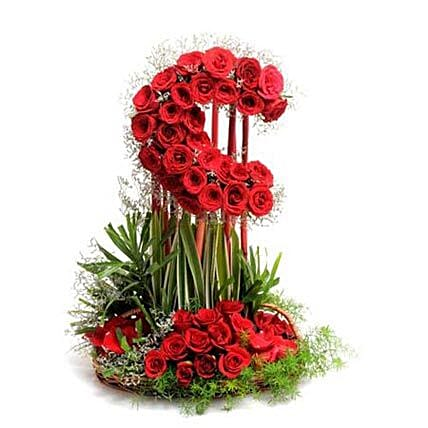 Mystic Elegance - Tall moon shape arrangement of 50 Red roses.
